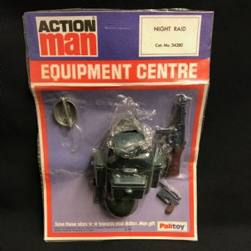 VINTAGE ACTION MAN - EQUIPMENT CENTRE, NIGHT RAID CARD - ULTRA RARE but incomplete